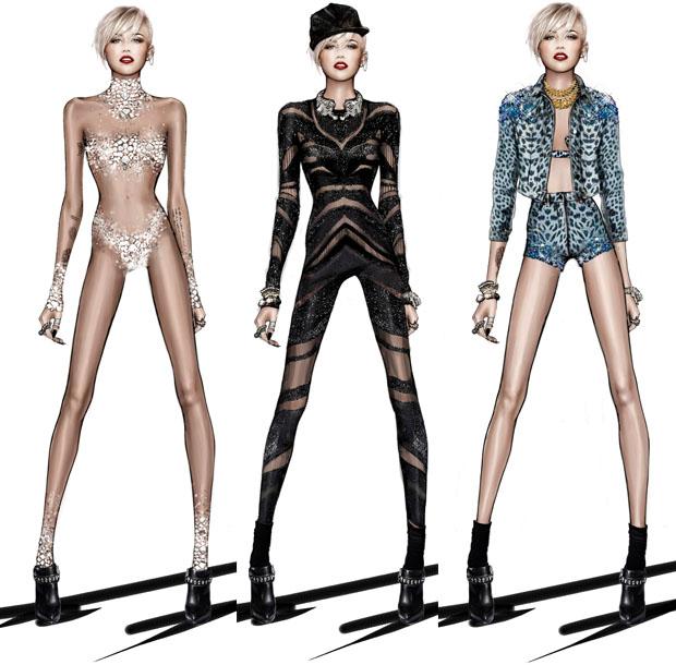 """3b83e96402484 O estilista Roberto Cavalli, responsável por parte dos figurinos da  """"Bangerz World Tour"""", fez um post especialmente para Miley Cyrus em seu  blog."""