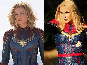 Intérprete da Capitã Marvel nos cinemas reage e fica surpresa com fantasia de Claudia Leitte para o carnaval